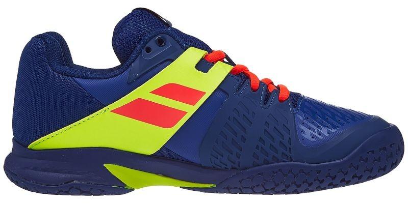 Детские теннисные кроссовки Babolat Propulse All Court Junior blue/fluo aero