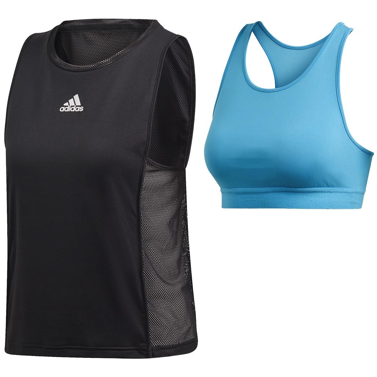 Теннисная майка женская Adidas Escouade Tank black/shock cyan