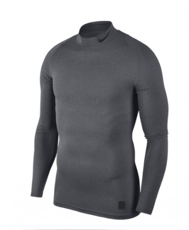 Термофутболка мужская Nike Pro Top Compression Mock carbon heather/black