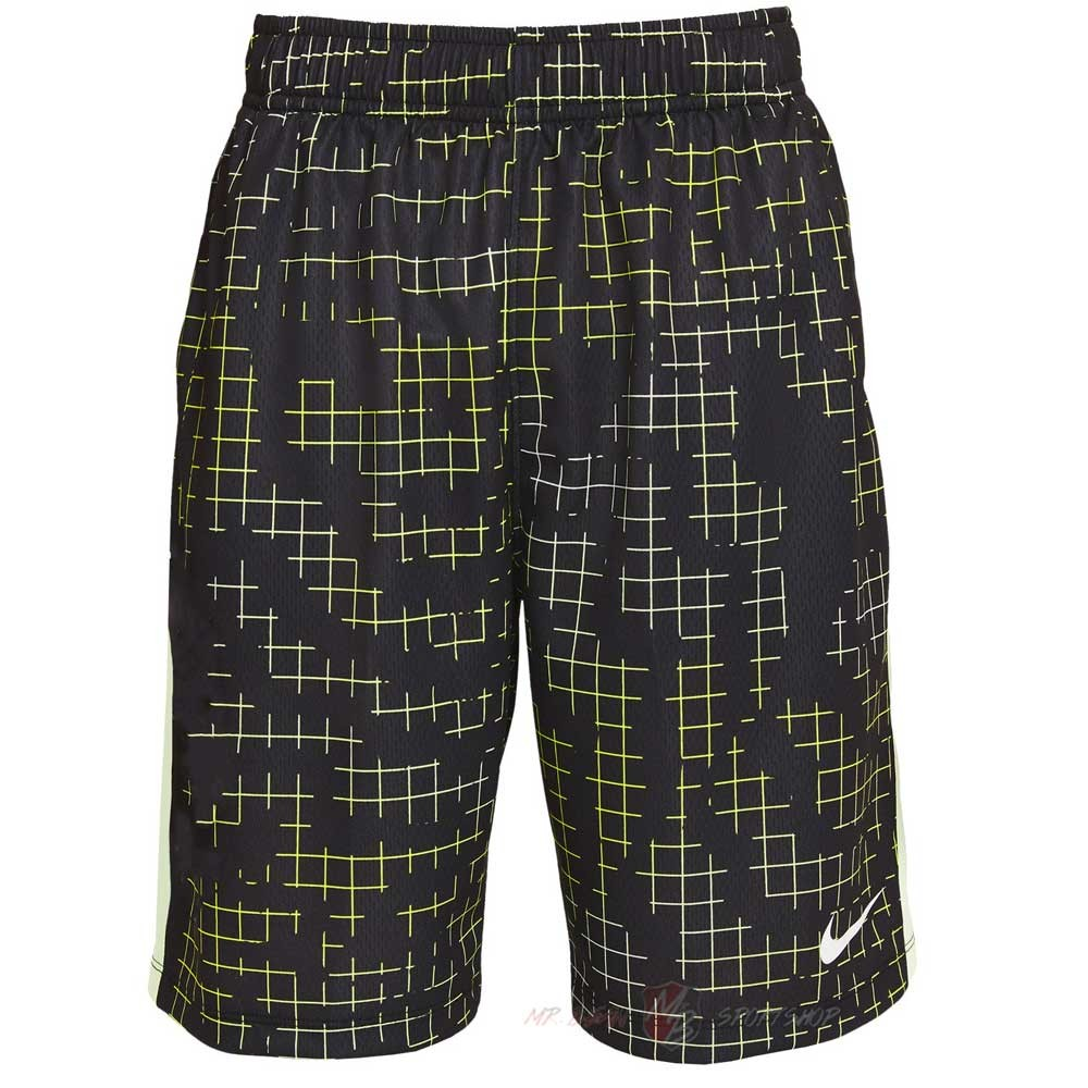 Теннисные шорты детские Nike Boys Printed Short black/barely volt