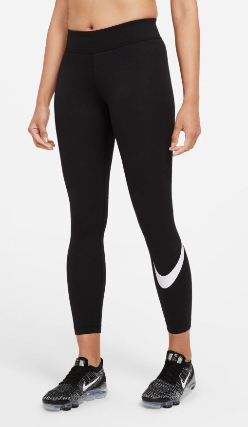 Леггинсы женские Nike Sportswear Essential Mid-Rise Swoosh Leggings black/white
