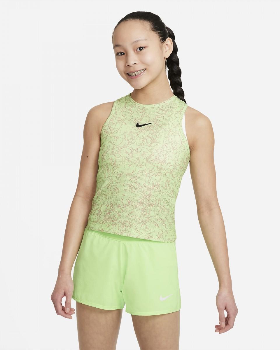 Теннисная майка для девочек Nike Court Victory Tank Printed lime glow/black
