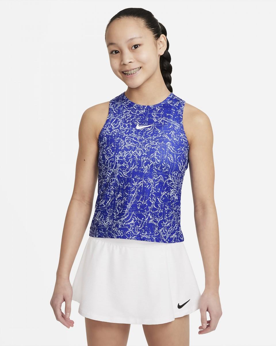 Теннисная майка для девочек Nike Court Victory Tank Printed concord/white