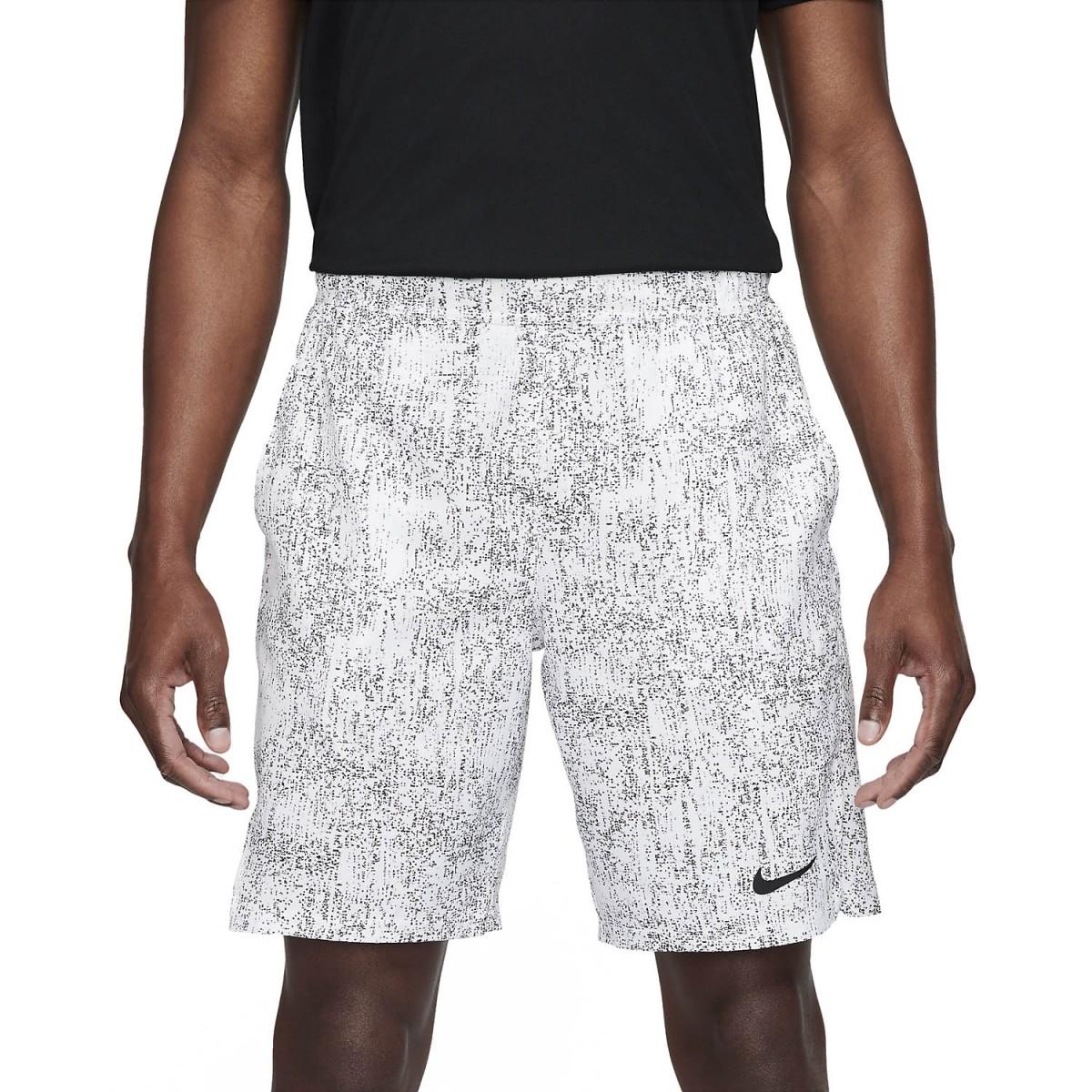 Теннисные шорты мужские Nike Court Flex Victory Short 9in Printed white/black