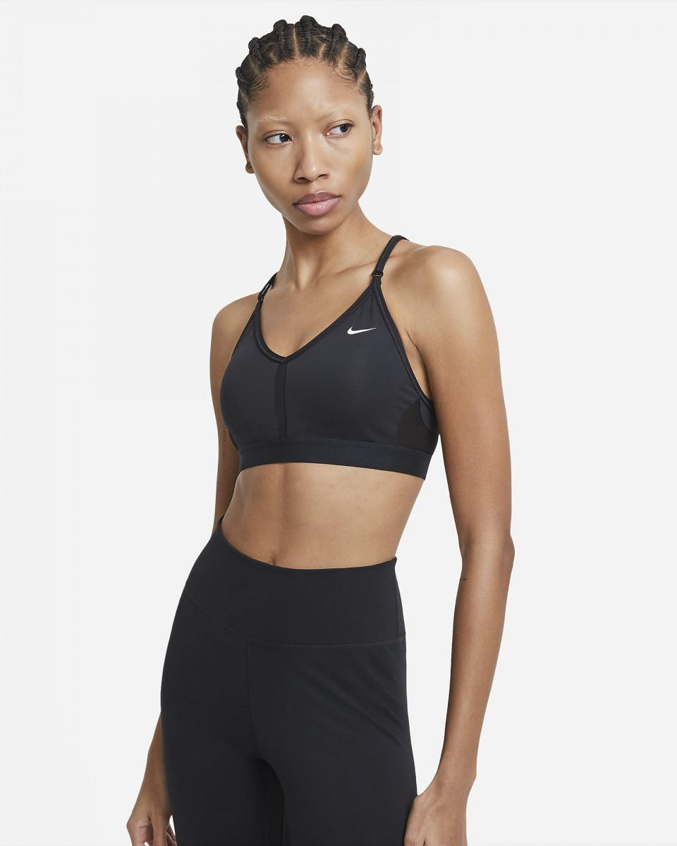 Топ женский Nike Indy Bra V-Neck black/black/black/white