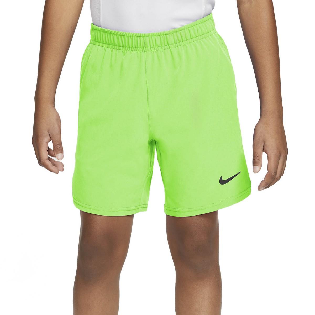Теннисные шорты детские Nike Boys Court Flex Ace Short lime glow/lime glow/black