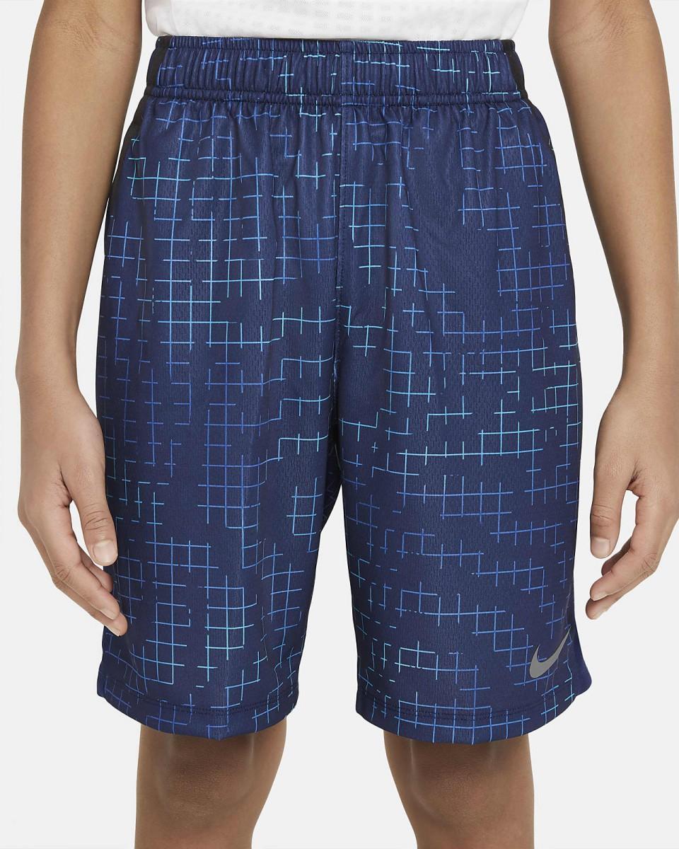 Теннисные шорты детские Nike Boys Printed Short blue void/barely volt