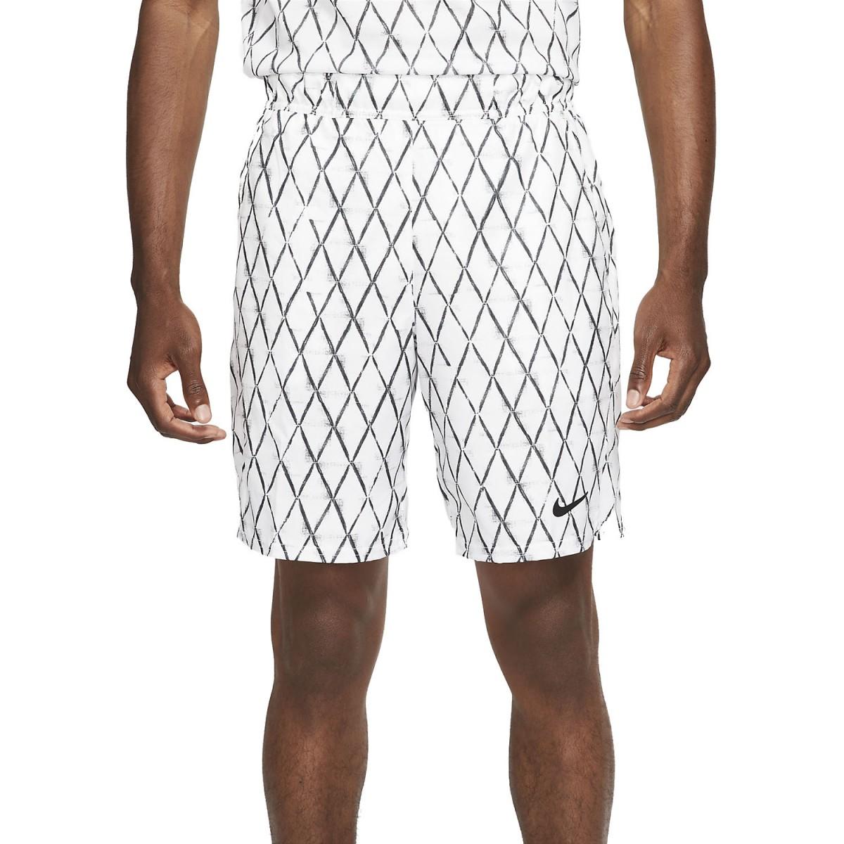 Теннисные шорты мужские Nike Court Victory Short 9in Printed white/black
